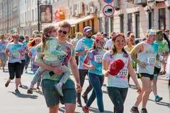 Het melden van het ontspruiten van marathon Colorrun Kiev 2017 Stock Afbeelding