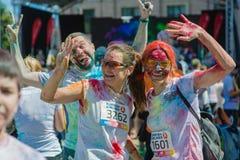 Het melden van het ontspruiten van marathon Colorrun Kiev 2017 Royalty-vrije Stock Foto