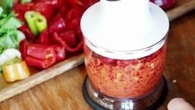 Het mengen van vers ingrediënt voor Ajika-onderdompeling in keukenmixer stock video