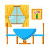 Het mengsel van Celingsstralen volkomen met de versiering en de open haard van de steenmuur De lijst van het diner met stoelen Stock Afbeelding
