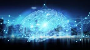 Het menselijke hersenen digitale x-ray 3D teruggeven Royalty-vrije Stock Foto