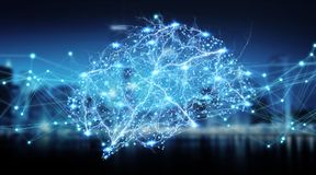 Het menselijke hersenen digitale x-ray 3D teruggeven Royalty-vrije Stock Afbeeldingen
