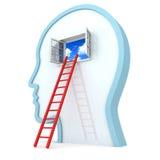 Het menselijke hoofd withred ladder aan geopend hemelvenster Stock Foto's