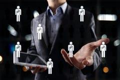 Het menselijke middelbeheer, u, rekrutering, leiding en teambuilding Bedrijfs en technologieconcept stock foto's