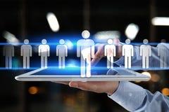 Het menselijke middelbeheer, u, rekrutering, leiding en teambuilding Bedrijfs en technologieconcept royalty-vrije stock foto's