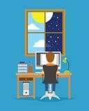 Het mensenwerk van dag aan nachtillustratie stock illustratie