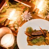 Het menu gezonde feestelijke maaltijd van het vakantierestaurant Royalty-vrije Stock Foto