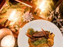 Het menu gezonde feestelijke maaltijd van het vakantierestaurant Stock Foto's