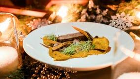 Het menu gezonde feestelijke maaltijd van het vakantierestaurant Royalty-vrije Stock Foto's