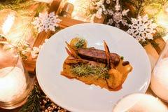 Het menu gezonde feestelijke maaltijd van het vakantierestaurant Stock Afbeelding