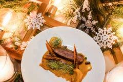 Het menu gezonde feestelijke maaltijd van het vakantierestaurant Royalty-vrije Stock Afbeelding
