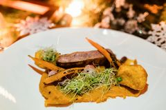 Het menu gezonde feestelijke maaltijd van het vakantierestaurant Royalty-vrije Stock Afbeeldingen