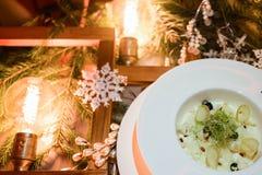 Het menu gezonde maaltijd van het vakantierestaurant Stock Afbeelding