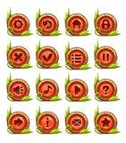 Het menu van beeldverhaalknopen met rood midden wordt geplaatst dat Stock Afbeelding