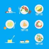 Het Menu van het beeldverhaalontbijt voor Huis, Hotel, Koffie of Restaurantreeks Vector Stock Foto's