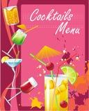 Het menu van cocktails Stock Afbeelding