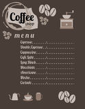Het Menu van de koffiewinkel Stock Fotografie