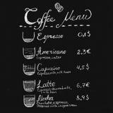 Het menu van de krijtkoffie het van letters voorzien Stock Afbeelding