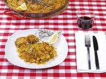 Het Menu van de paella in een Restaurant Stock Afbeeldingen