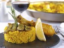 Het Menu van de paella in een Restaurant Stock Fotografie