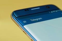 Het menu van de telegramtoepassing Stock Afbeeldingen