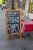 Het Menu van de vis met patat royalty-vrije stock foto