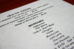 Het menu van dranken Stock Afbeelding