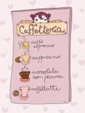 Het menu van grappige caffetteria Vector Illustratie