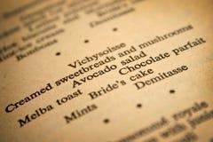 Het menu van het huwelijk Royalty-vrije Stock Foto