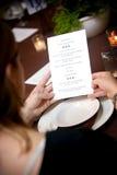 Het menu van het huwelijk Stock Foto's