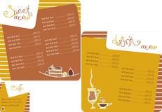 Het menu van het malplaatje voor koffiewinkel Stock Afbeelding