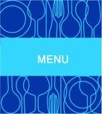 Het menu van het restaurant met een achtergrond in blauw -2 Stock Afbeelding