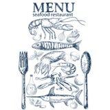 Het menu van het zeevruchtenrestaurant Royalty-vrije Stock Foto's