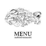 Het menu van het zeevruchtenrestaurant Royalty-vrije Stock Afbeeldingen