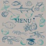 Het menu van het zeevruchtenrestaurant Royalty-vrije Stock Foto