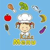 Het menu van jonge geitjes Meisjeschef-kok Stock Fotografie