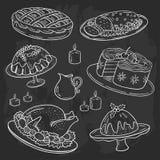 Het menu van het Kerstmisdiner, de krabbelstijl van de krijttekening, bordachtergrond royalty-vrije illustratie