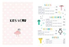 Het menu van kinderen in het ruimtestijlmalplaatje stock illustratie