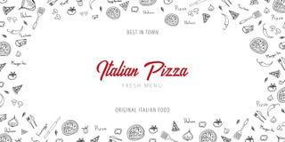 Het menu van het pizzavoedsel voor restaurant en koffie Ontwerpbanner met hand-drawn grafische elementen in krabbelstijl Vector i vector illustratie