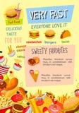 Het menu vectoraffiche van het snel voedselrestaurant Stock Fotografie