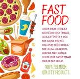 Het menu vectoraffiche van het snel voedselrestaurant Stock Afbeeldingen