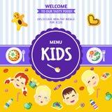 Het Menu Vlakke Affiche van het babyvoedsel vector illustratie
