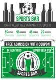 Het menuaffiche van de sportbar met voetbalbal en bier Stock Fotografie