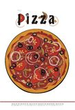 Het menudekking van de pizza - vectortekening Royalty-vrije Stock Afbeeldingen