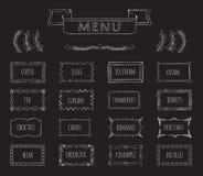 Het menuhand getrokken reeks van het koffiebord royalty-vrije illustratie