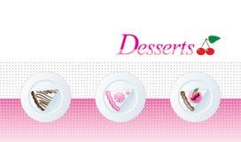 Het menumalplaatje van het dessert Stock Foto