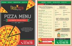 Het menumalplaatje van het pizzarestaurant - Voorzijde en Rug Vector Illustratie