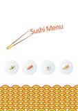 Het menumalplaatje van sushi Royalty-vrije Stock Foto's