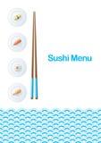 Het menumalplaatje van sushi Stock Afbeelding