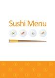 Het menumalplaatje van sushi Stock Afbeeldingen